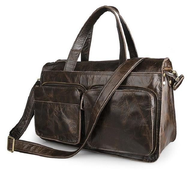 100% Couro Genuíno Saco de Ombro Único Bolsa Malas de Viagem Durante A Noite Saco Messenger Bag Laptop Maleta 7138
