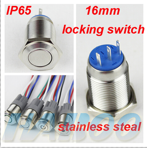 on-off 16mm 1pcs packing metal push button switch 1NO+1NC anti-vandal  push button switch flat round head IP65 shipping free 5pcs lot high quality 2 pin snap in on off position snap boat button switch 12v 110v 250v t1405 p0 5