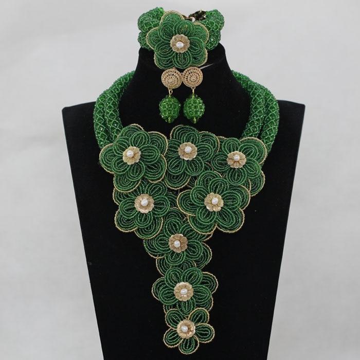 Chunky Flowers Bib Statement Necklace Earrings Bracelet Jewellery Set Splendid Gold Nigerian Wedding Beads Jewelry Set ABH519