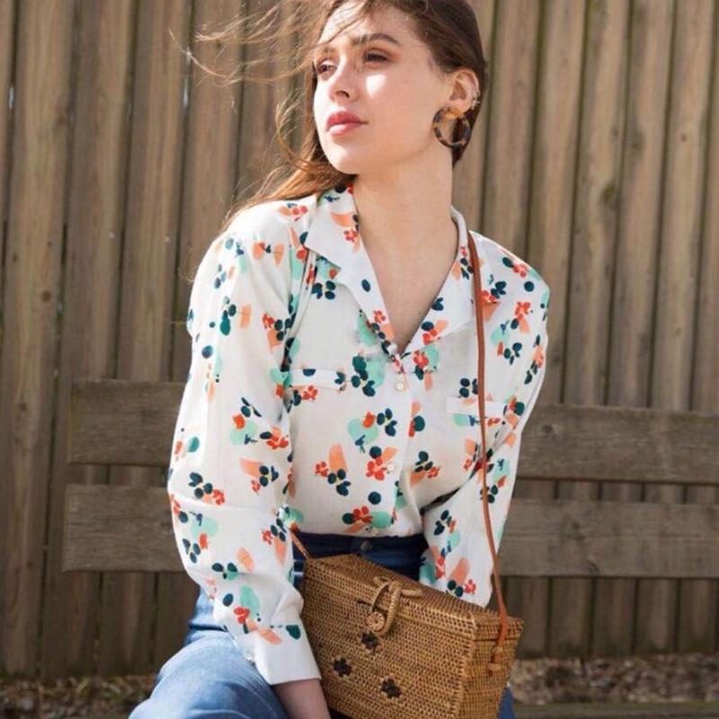 Manga Viscosa Sweet Impresión De Nuevas Estilo Larga Francés Blusa Cuello Floral Picture 2018 Mujeres Show Tops As qFPXwCxq8