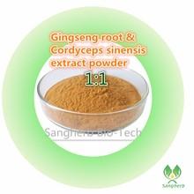 Бесплатная доставка 100% чистый натуральный 10 лет Корея женьшень экстракт корня и Кордицепс sinensis экстракт порошок 200 г