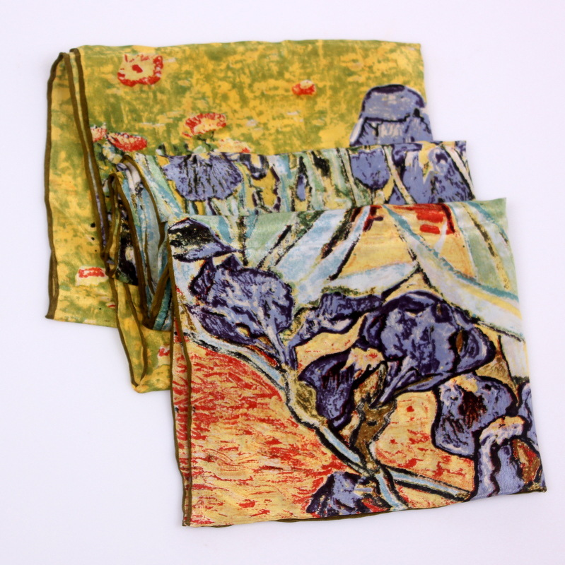 Image 2 - DANKEYISI 2019 Van Gogh Oil Painting Silk Scarf Women & Men Scarf 100% Real Silk Scarves Female Luxury Brand Designer Scarves-in Women's Scarves from Apparel Accessories on AliExpress