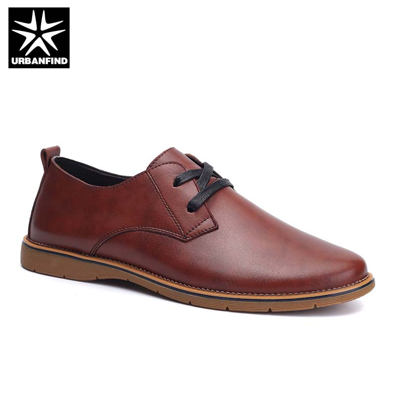Lace-up Design Man Casual Leather Shoes Size 37-44 Brand Fashion Men Social Oxfords Black Brown Grey