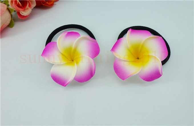 20 диаметр цветка украшение для волос ленты пены Гавайская Плюмерия эластичный с цветочным принтом Гавайский жасмин повязка на голову волос веревки - Цвет: rose red