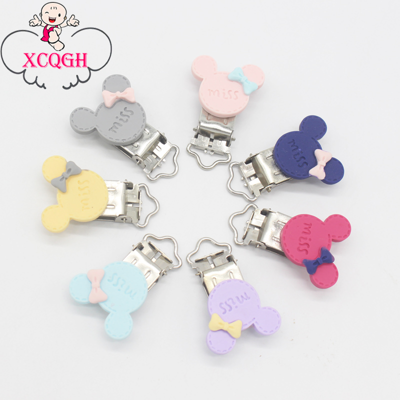 XCQGH 5/10pcs Miss Mouse Cute Pattern Pacifier Clips DIY Soother Nipple Clip Chain For Dummy Feeding