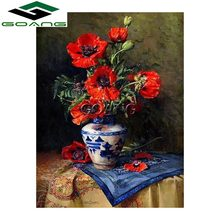 Needlework diy Diamond Painting Cross Stitch Diamond Embroidery 5d diamond mosaic Flowers Vase 3d wall stickers(China)