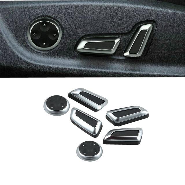 6pcs Chrome Black Seat Adjust Button Cover Trim For Audi A5 Q5 A4 B8 2009 2010 2011 2012 VW CC