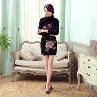New Arrival Vintage Women S Wool Rabbit Mini Cheongsam Fashion Chinese Style Dress Autumn Winter Qipao