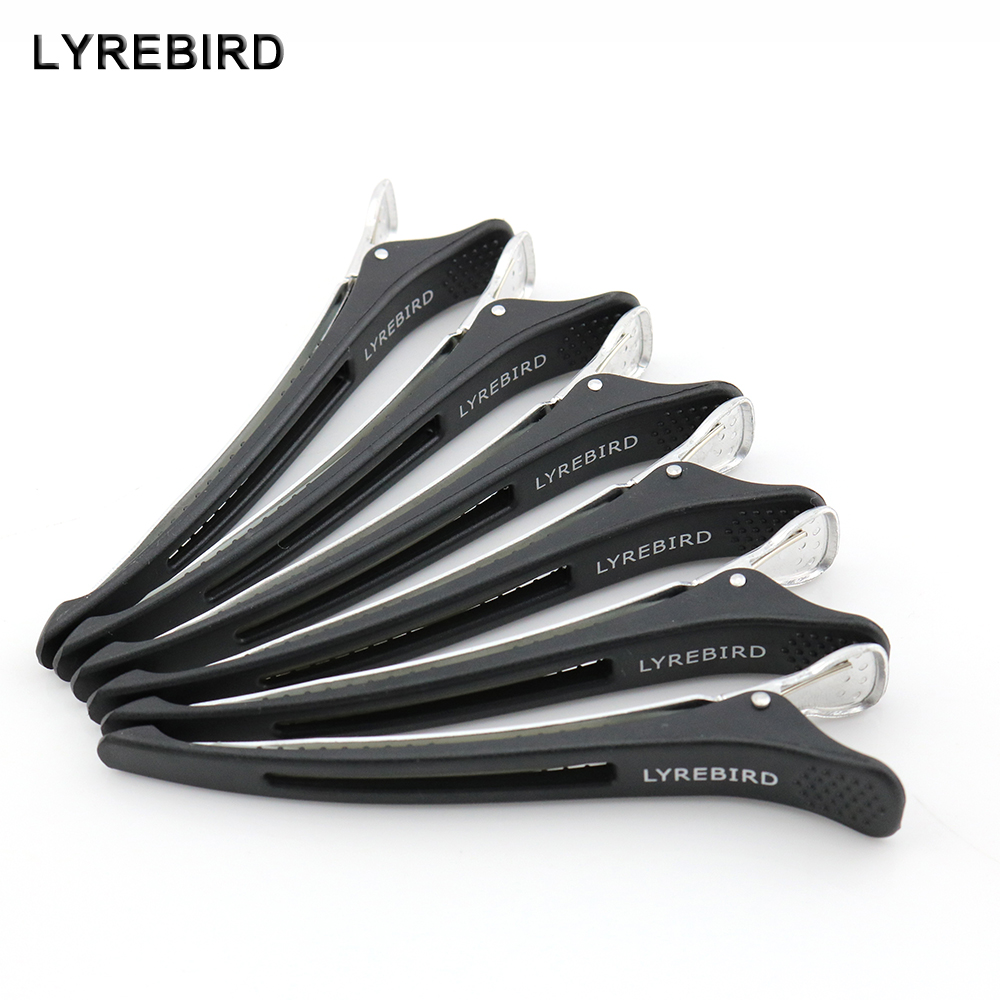 Lyrebird Hair Clip Black Seamless Clips DIY Beauty Salon Tools Barber Plastic Aluminum Hairpins High Quality 12PCS/LOT NEW
