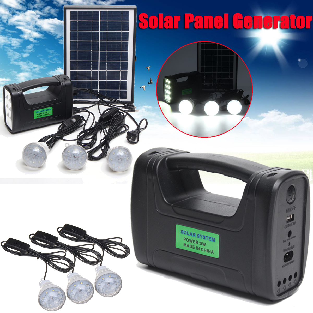 купить 110-220V Portable Home Outdoor Small Solar Panels Charging Generator Power System 5W Mini Outdoor Power LED Lighting System онлайн