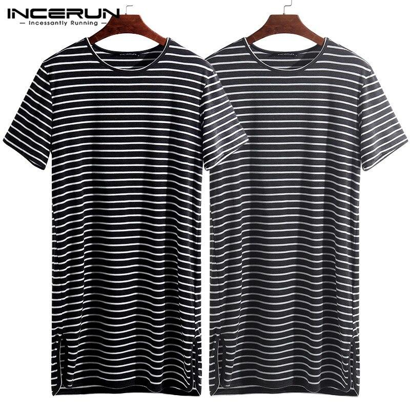 INCERUN Fashion Striped Men Sleep Tops Summer Sleepwear Nightwear Short Sleeve O Neck Loose Homewear Leisure Tops 2020 Plus Size