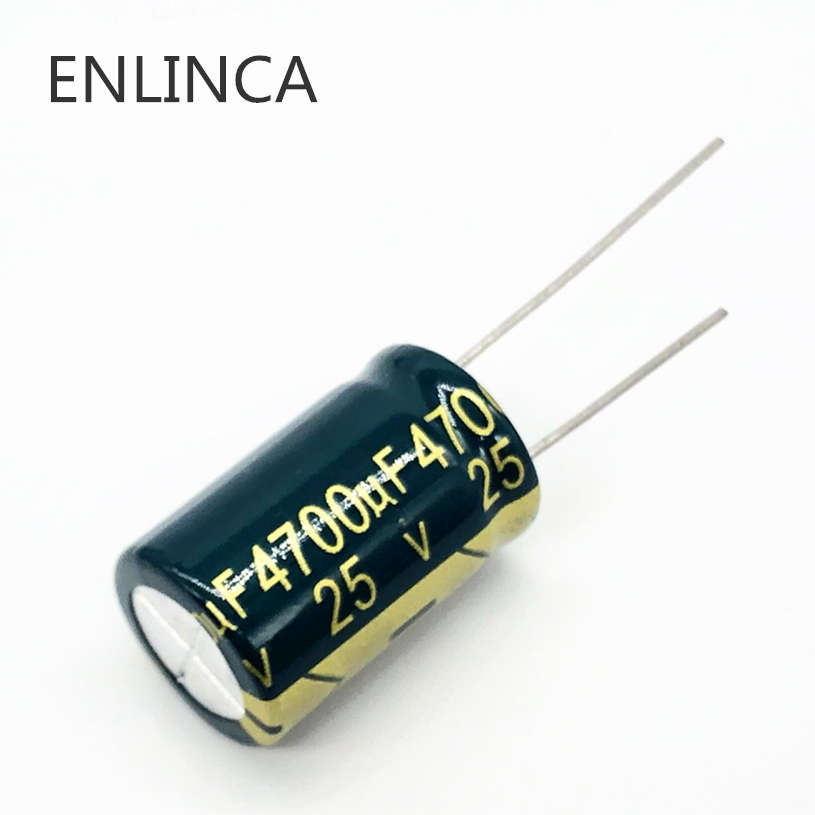 10pcs/lot H025 25V 4700UF Low ESR/Impedance High Frequency Aluminum Electrolytic Capacitor Size 16*25 4700UF25V 20%