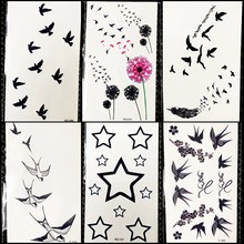 DIY Black Flying Birds Temporary Tattoo Colorful Dandelion Stickers Girls Face Party Tattoo Boys Hands Stars Fake Tatoos Makeup(China)