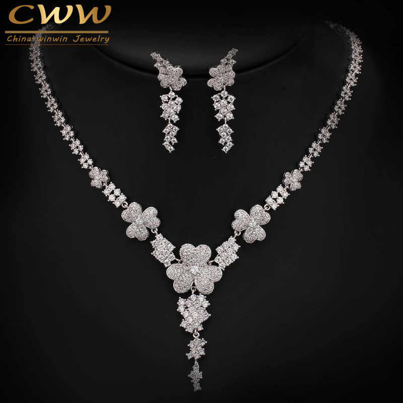2017 New Luxury AAA Cubic Zirconia Micro Paved Big Bridal Earrings Necklace Jewelry Sets For Wedding Engagement Party T250
