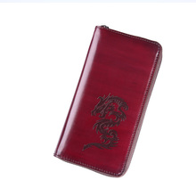TERSE_Wholesale price handmade leather purse for men high quality wax genuine leather long wallet with phone pocket engraving