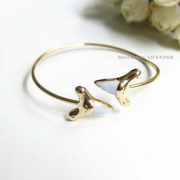 Fashion New Light Blue Enameled Double Shark Tooth Bangle Bracelet Free Shipping In Bangles From Jewelry Accessories On Aliexpress Alibaba Group