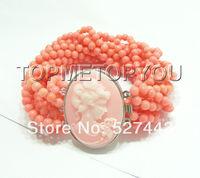 Prett Lovely Women's Wedding Wholesale free shipping >>Stunning 10strands round pink coral necklace Cameo clasp