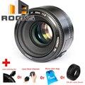 Yongnuo ef 50mm f/1.8 1:2 enfoque automático lente de gran apertura traje para canon ef dslr + limpieza pen + limpia de polvo + bolsa de la lente + parasol