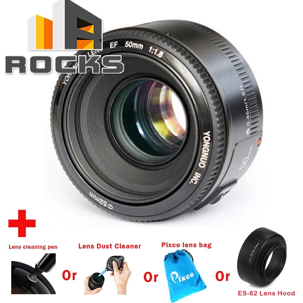 Yongnuo EF 50mm F/1.8 1:2 Messa A Fuoco Automatica Obiettivo Ad Ampia Apertura Vestito per Canon EF DSLR + penna di pulizia + Cleaner Dust + bag lens + Paraluce