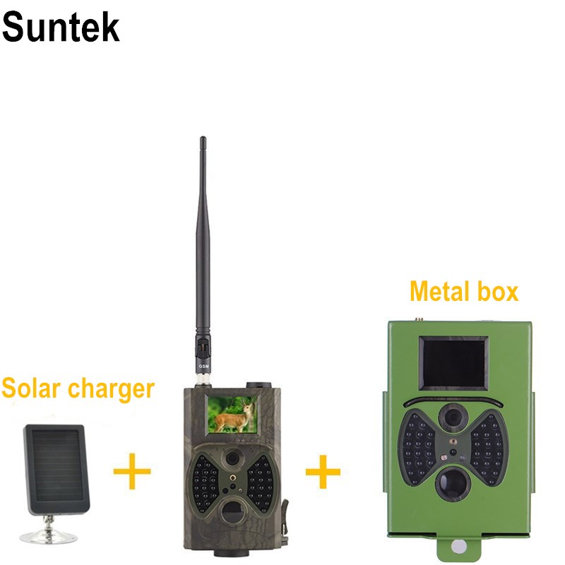 Suntek Wild Camera Trap HC-300M Hunting Camera With METAL Security box anti-bite Safety box and solar panel power charger 3g hunting trail camera with metal safety box and solar charger