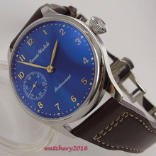 44mm Parnis Blue dial Leather strap top brand New Golden Hands SS Case 17 jewels 6497 movement Hand Wind Mechanical Men's Watch цена 2017