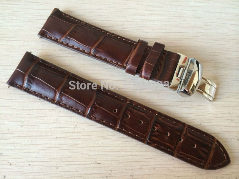 19mm (Buckle18mm) <font><b>PRC200</b></font> T17 T41 T461 High Quality Silver Butterfly Buckle + Brown Genuine Leather Watch Bands Strap image