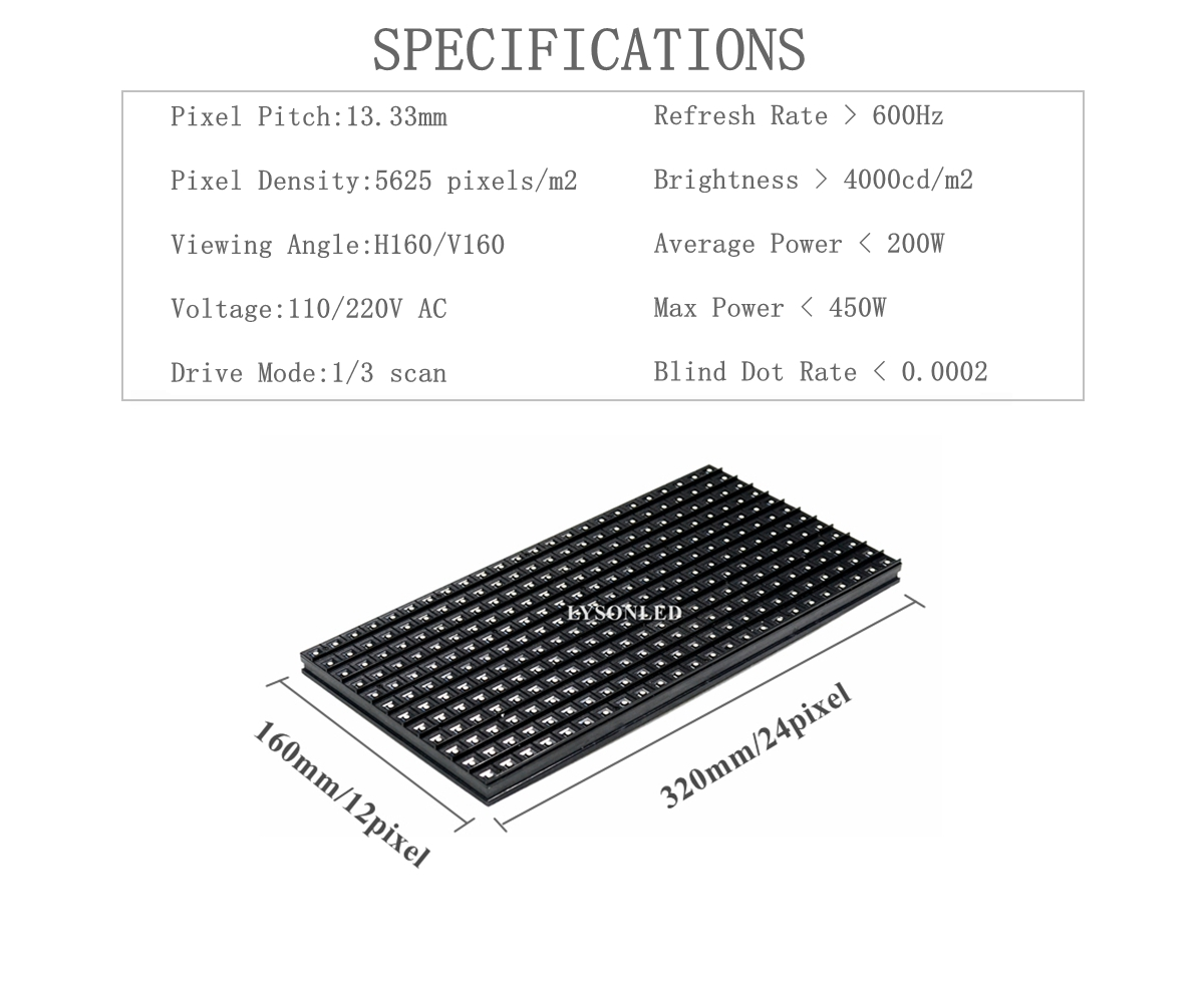 Купить с кэшбэком LYSONLED A+ Full Color  Animation Display P13.33 Outdoor SMD 3-in-1     Module 320*160MM 24x12Dots