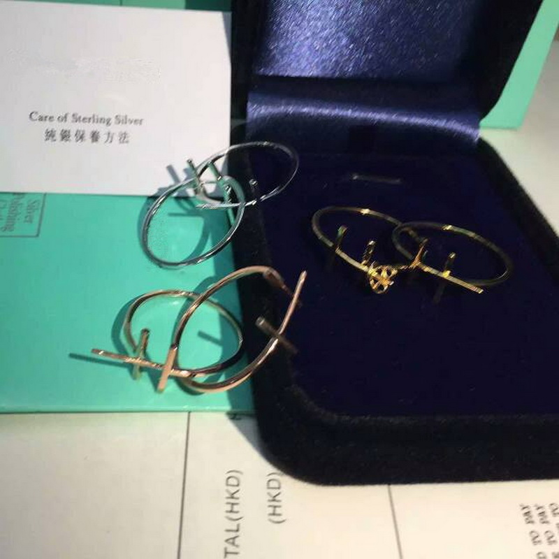 Elegant Brief T Smile Hoop Earring Women 100% Real Sterling Silver 925 Rose/White/Yellow Gold Color Free Original Box Gift