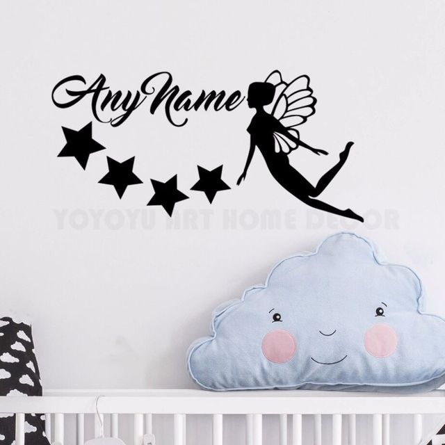 Personalized Name Fairy Stars Wall Sticker Any name Customade Girls ...