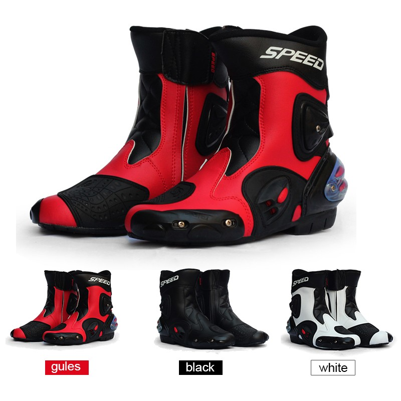 Motorcycle Boots Protection Ankle Joint Pro-Biker SPEED Boots For Motorcyle Racing Off-Road Boots Motocross BLACK RED WHITE risk racing 00 110 black motocross grip donuts with blister protection