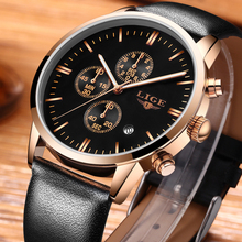 LIGE Mens Watches Top Brand Luxury Men's Fashion Business Watch Men Time Date Waterproof Leather Quartz Watch Relogio Masculino