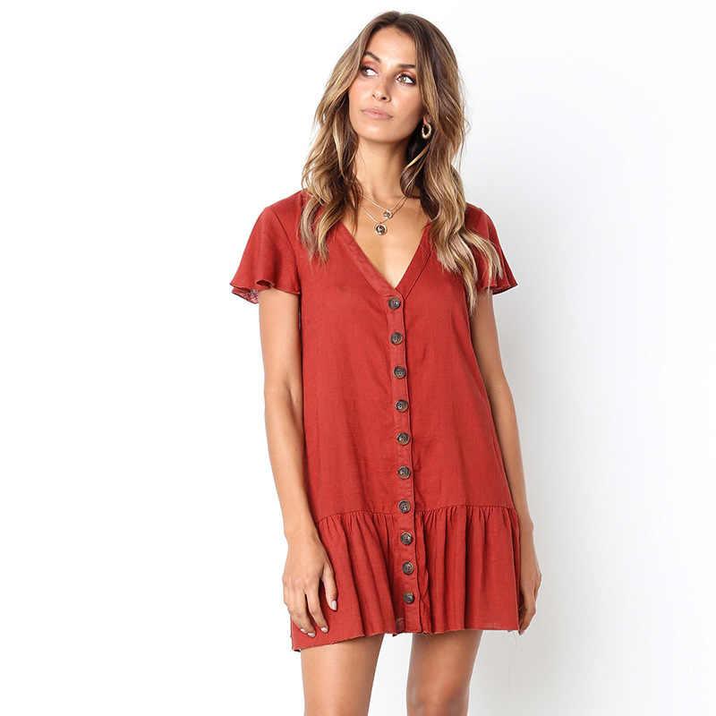 Женский сарафан с оборками, летнее платье, 2019, сексуальное, v-образный вырез, лен, пуговицы, короткое, мини, Vestidos, женское, зеленое, красное, свободное, Повседневное платье для женщин