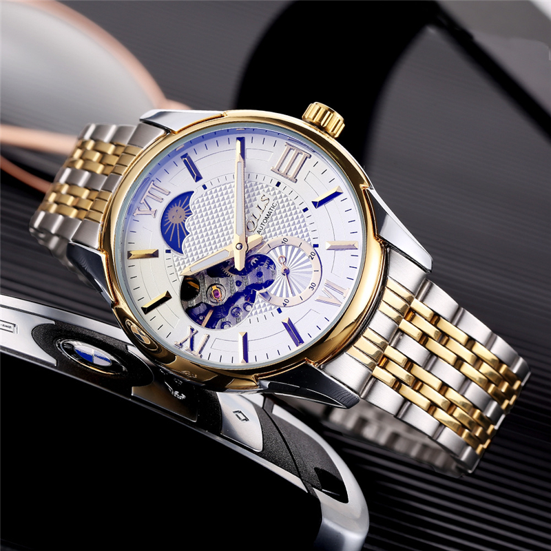 QLLS NEW Top Brand Men Mechanical Watch Automatic Skeleton tourbillon Moon Phase Fashion Luxury Leather Relogio Masculino montre