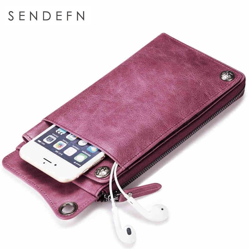 SENDEFN Genuine Leather Women Wallet Men Casual Purse Unisex Wallets Clutch Zipper Phone ...