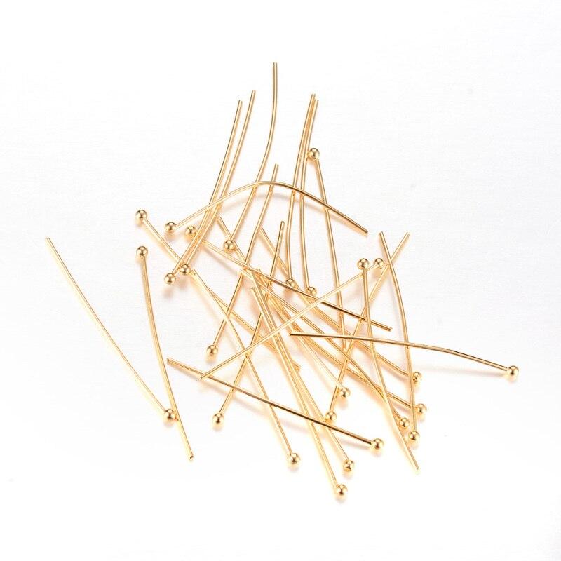 500 pièces Laiton Headpins, Or Clair, environ 35mm x 0.7mm d'épaisseur, tête: 1mm/40mm longx0.5mm épais; tête: 1.5mm