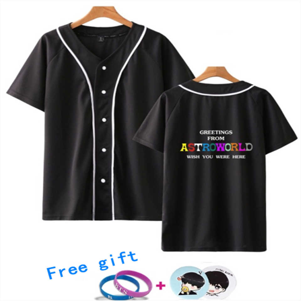 LUCKYFRIDAYF 2019 K-pop Travis Scotts ASTROWORLD Summer Baseball T-shirt Spring Women/Men Hot Sale Cool Coats Baseball T-shirts
