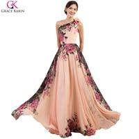 Luxury Freeshipping Stock Floor Length Chiffon Prom Dress Long Colorful Flower Pattern Celebrity Dress Formal Evening