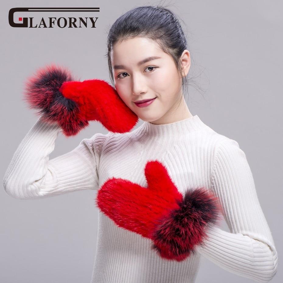 Glaforny 2018 gants de fourrure de vison véritable avec des garnitures de fourrure de renard Patchwork gants femmes colorées chaudes épaisses mitaines de dames