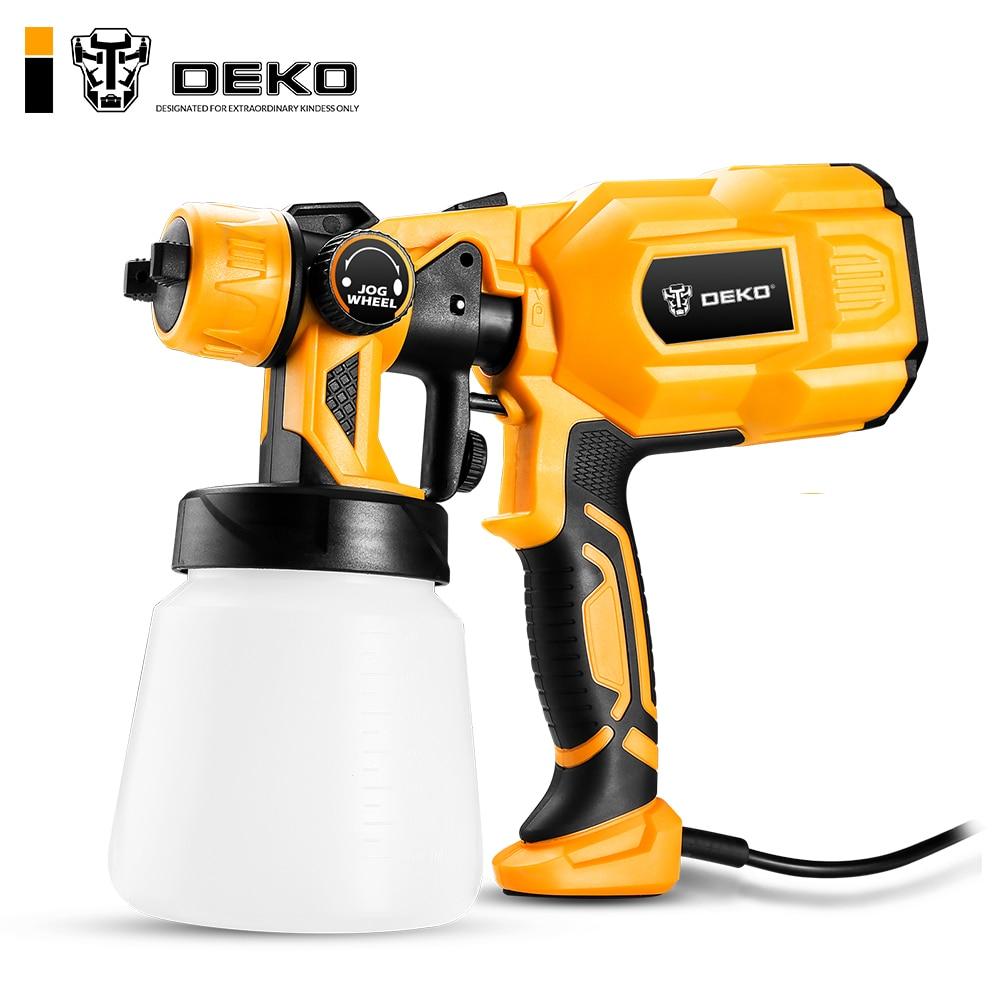 DEKO DKSG55K1 Spray Gun 550W 220V High Power Home Electric Paint Sprayer 3 Nozzle Easy Spraying And Clean Perfect For Beginner