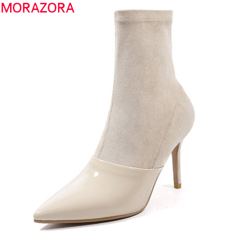 MORAZORA 2020 hot sale ankle boots women patent leather spring autumn shoes woman zipper simple sexy