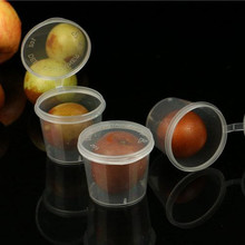300pcs/lot-3.8cm*3cm*3.2cm 25ml 1oz Food grade PP seasoning cup Disposable tasting cup Salad sauce Take-out storage cup