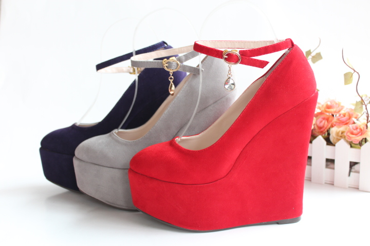 Popular Ankle Strap Suede Platform Wedge-Buy Cheap Ankle Strap