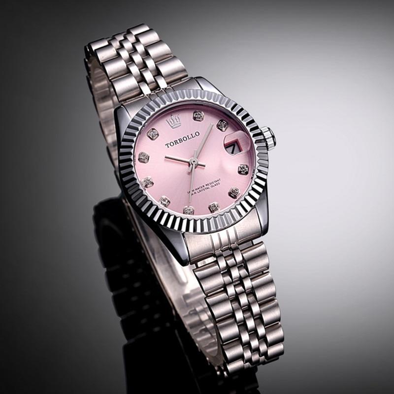 Top Brand TORBOLLO Silver Pink Lady Party Watch Quartz Date Crystal Waterproof Women Dress Watch snoopy quartz watch pink