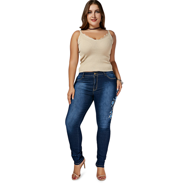 Women's Skinny Floral Embroidered Jeans (Plus Size)