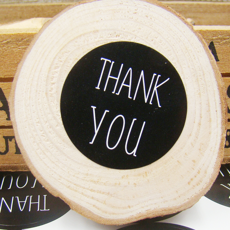 300PCS/Lot 3cm Diameter Black Paper Thank You Sticker Labels Self-adhesive Labels DIY Hand Made For Cards/Jewelry/Box/Gift/Bakes