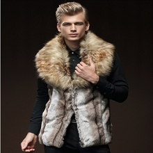 New High Quality Luxury Male Mens Faux Fur Hoodies Jacket Vest Winter Fashion Sleeveless Hooded Outerwear Slim Coats