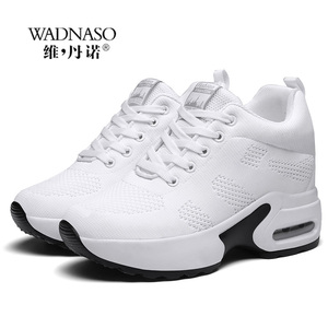 Image 5 - WADNASO Flying Knitting Fashion Sneakers Women Hide Heels Casual Shoes Breathable Platform Sneakers Wedge White Shoes XZ120
