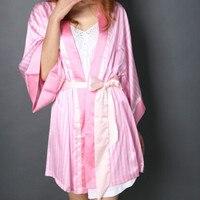 High Quality Faux Silk Sexy Women Robes Summer New Nightdress Lady Sexy Dress Nightgown Female Pink Sleepwear