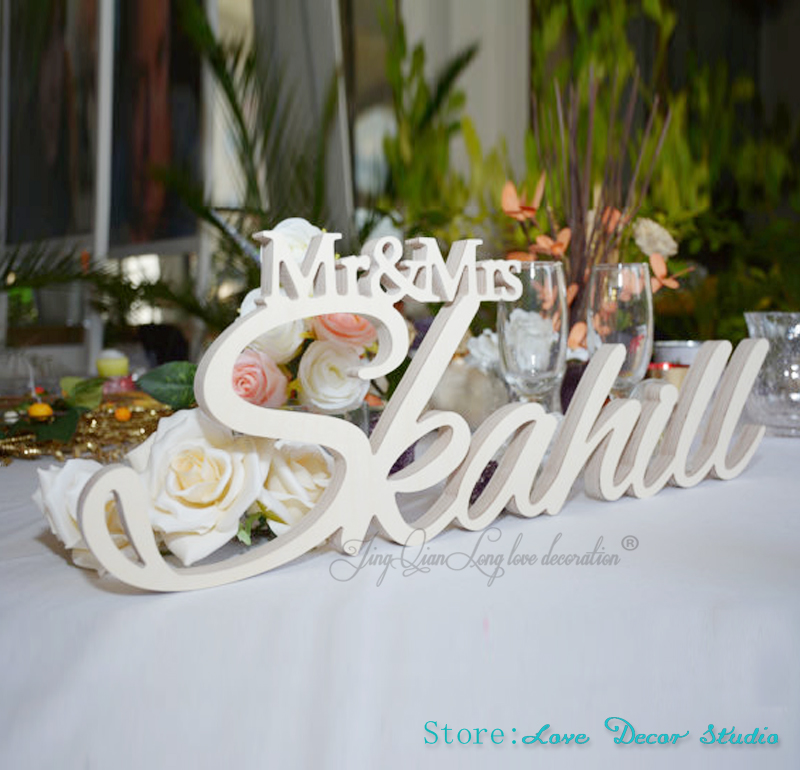 Mr and Mrs Name Sign for Wedding Table Decor Mr /& Mrs Standing Table or Cake Table Bride and Groom Sign Personalized
