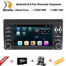 1024X600 Android 6.0.1 Quad Core A9 1.6GHz CPU 16GB Flash Car DVD Player for Porsche Cayenne 2003-2010 3G Wifi Stereo System BT